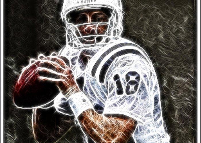 Peyton Manning Greeting Card featuring the digital art Peyton Manning 18 by Paul Ward