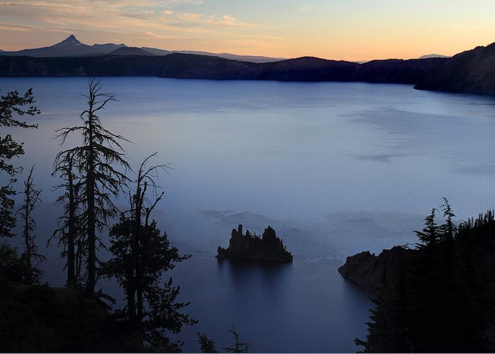 Phantom Ship Greeting Card featuring the photograph Phantom Ship Sunrise At Crater Lake by Pierre Leclerc Photography