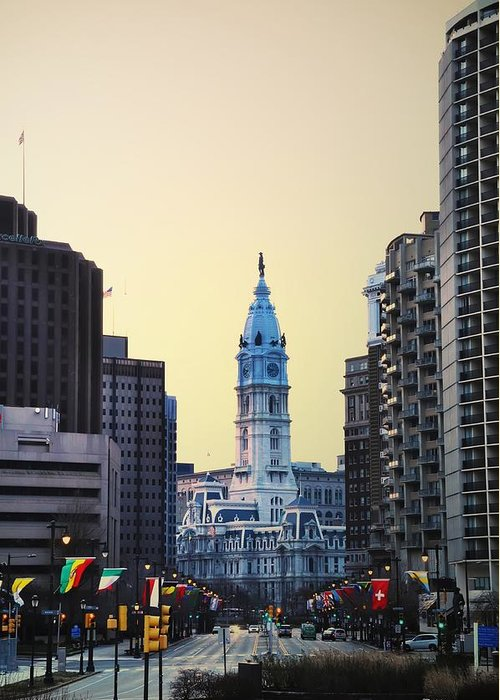 Philadelphia Cityhall At Dawn Greeting Card featuring the photograph Philadelphia Cityhall At Dawn by Bill Cannon