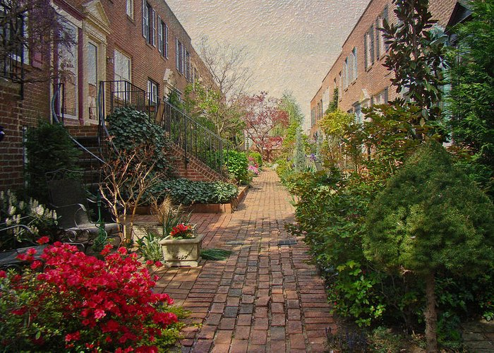 Floral Greeting Card featuring the photograph Philadelphia Courtyard - Symphony Of Springtime Gardens by Mother Nature
