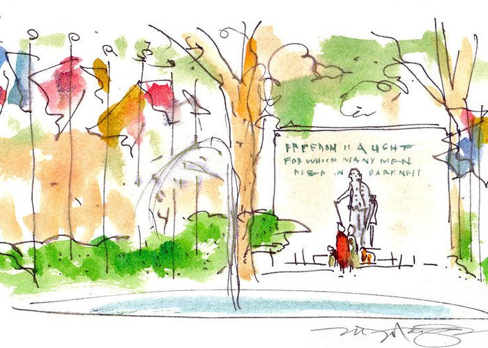 Landscape Greeting Card featuring the painting Philadelphia Park by Marilyn MacGregor