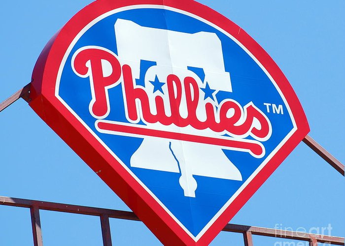 Philadelphia Phillies Greeting Card featuring the photograph Phillies Logo by Carol Christopher