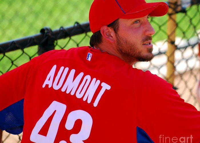 Mlb Greeting Card featuring the photograph Phillipe Aumont by Carol Christopher