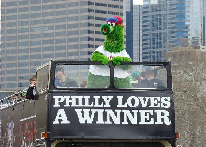 Philly Loves A Winner Bus Parade Phanatic Green City Philadelphia Greeting Card featuring the photograph Philly Loves A Winner by Alice Gipson