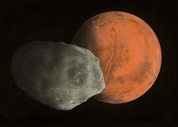 Valles Marineris Greeting Card featuring the photograph Phobos And Mars, Artwork by Richard Bizley
