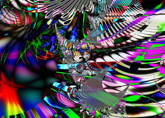 Fractal Greeting Card featuring the digital art Phoenix Rising . Square . S3.s9 by Wingsdomain Art and Photography