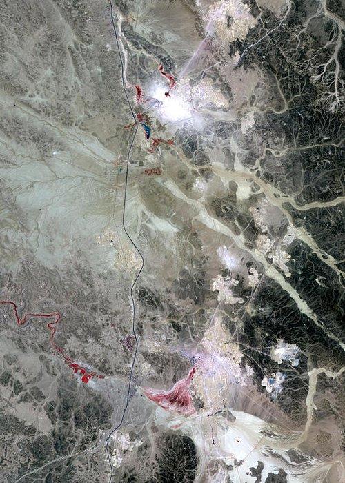 Phosphorus Greeting Card featuring the photograph Phosphate Mines, Jordan by Nasa