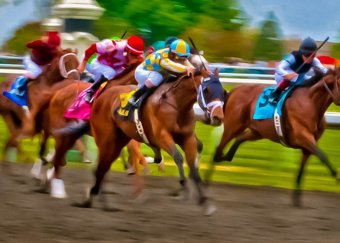Horse Horses Race Races Racing Thoroughbred Jockey Keeneland Kentucky Motion Blur Blurred Photo Finish Greeting Card featuring the photograph Photo Finish by Richard Marquardt