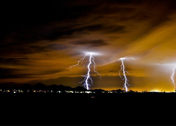 Phoenix Greeting Card featuring the photograph Phx Night Lightning #1 by Kenny Jalet