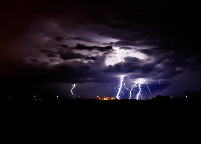 Phoenix Greeting Card featuring the photograph Phx Night Lightning 6 by Kenny Jalet