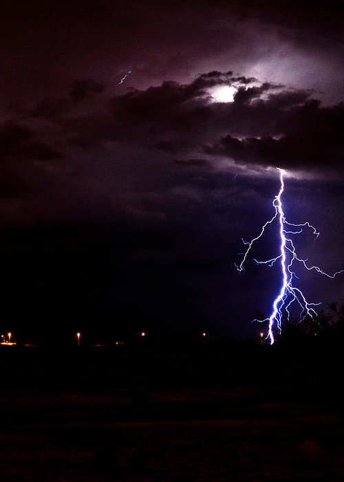 Night Greeting Card featuring the photograph Phx Night Lightning 8 by Kenny Jalet