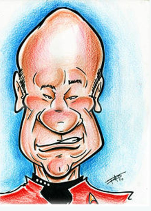 Star Trek Greeting Card featuring the drawing Picard by Big Mike Roate