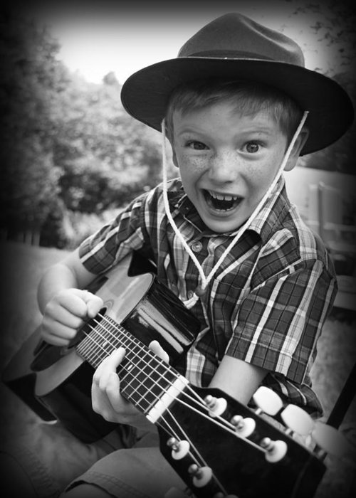 Guitar Greeting Card featuring the photograph Pickin' by Kelly Hazel