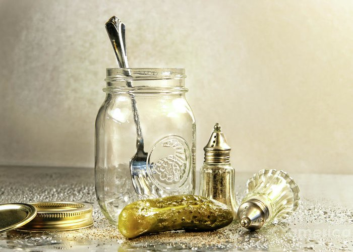 Background Greeting Card featuring the photograph Pickle With A Jar And Antique Salt And Pepper Shakers by Sandra Cunningham