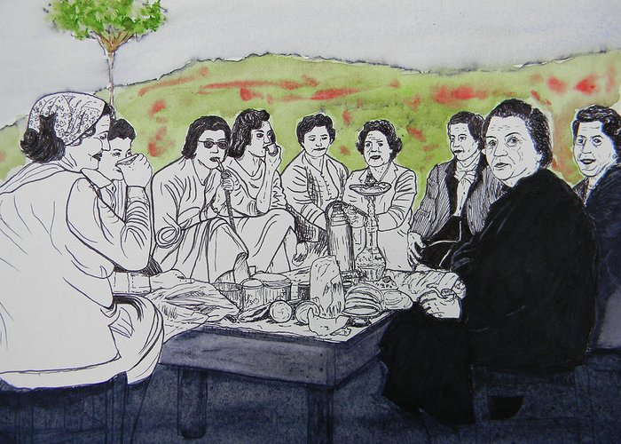 Southern Lebanon Greeting Card featuring the painting Picnic In The Mountains by Marwan George Khoury