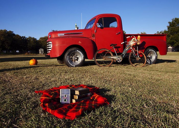 Red Ford Truck Greeting Card featuring the photograph Picnic Time by Toni Hopper