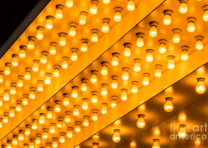 Illuminated Greeting Card featuring the photograph Picture Of Theater Lights by Paul Velgos