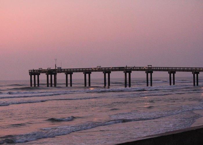 Pier Greeting Card featuring the photograph Pier At Sunrise by Rod Andress