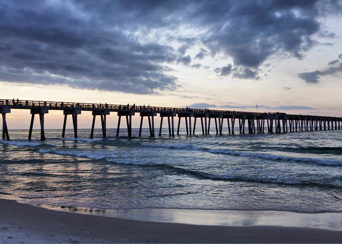 Pier Greeting Card featuring the photograph Pier In The Evening by Sandy Keeton
