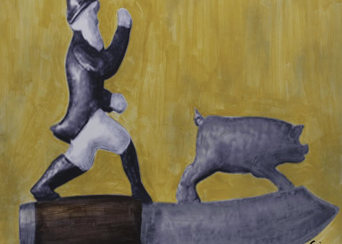 Pig Greeting Card featuring the painting Pig Chasing by Eric Rhodes