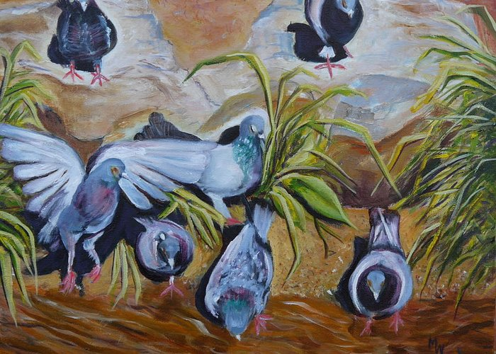 Rancho De Chimayo Greeting Card featuring the painting Pigeons At Rancho De Chimayo by Mark Malone