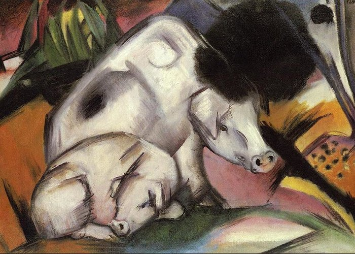 Pigs Greeting Card featuring the painting Pigs by Franz Marc