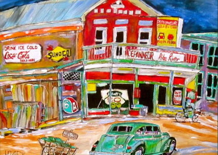 Depanneur Greeting Card featuring the painting Pike River Depanneur by Michael Litvack