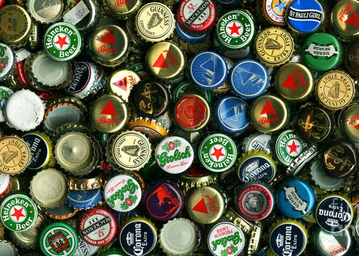 Long Greeting Card featuring the photograph Pile Of Beer Bottle Caps . 2 To 1 Proportion by Wingsdomain Art and Photography