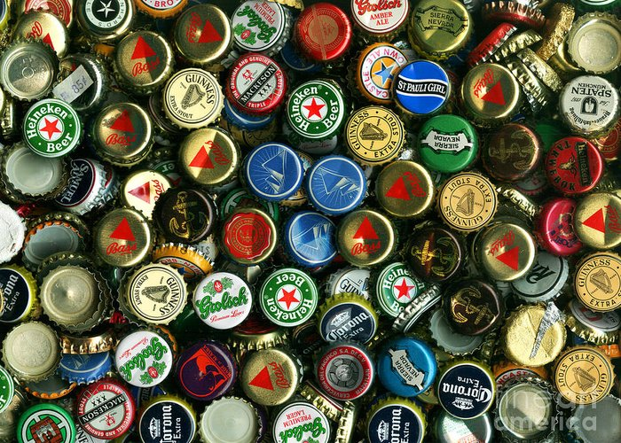 Kitsch Greeting Card featuring the photograph Pile Of Beer Bottle Caps . 9 To 12 Proportion by Wingsdomain Art and Photography
