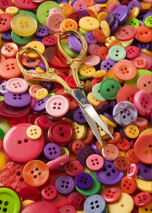 Button Greeting Card featuring the photograph Pile Of Buttons With Scissors by Garry Gay