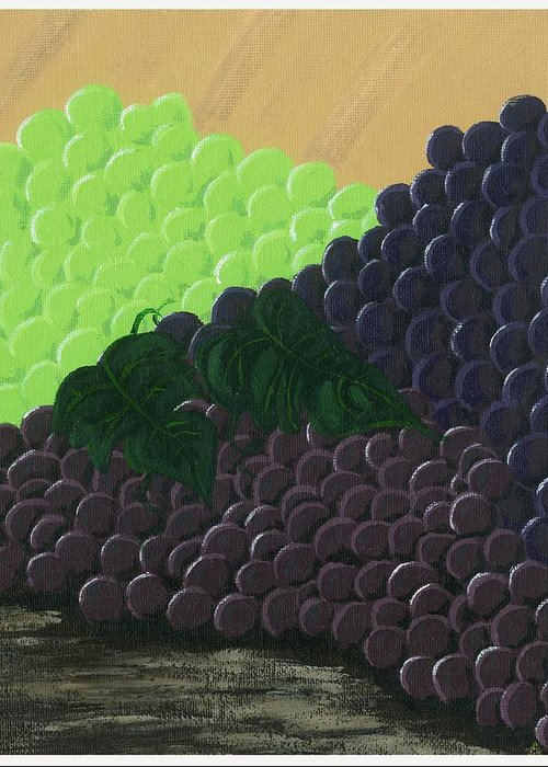 Grapes Greeting Card featuring the painting Pile Of Wine Grapes by Starla Rodriguez