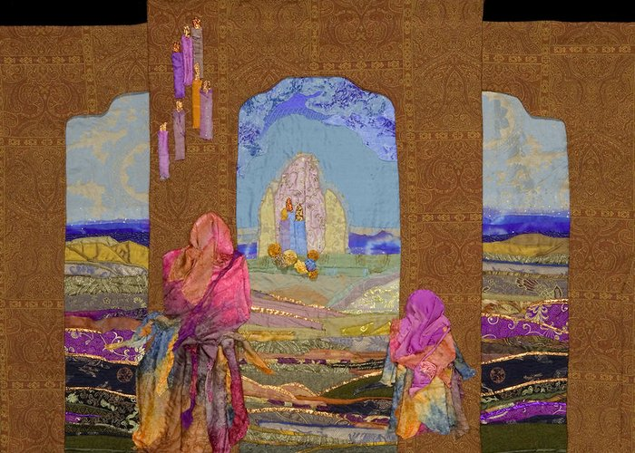 Quilt Greeting Card featuring the tapestry - textile Pilgrimage by Roberta Baker