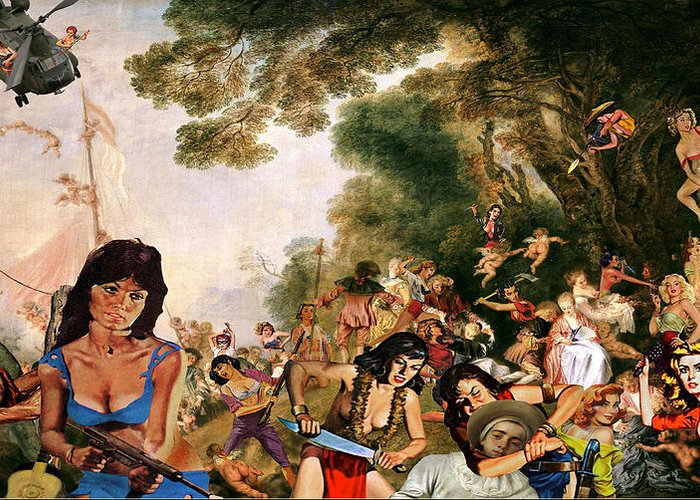 Watteau Greeting Card featuring the digital art Pilgrimage To The Isle Of Dangerous Women by Barry Kite