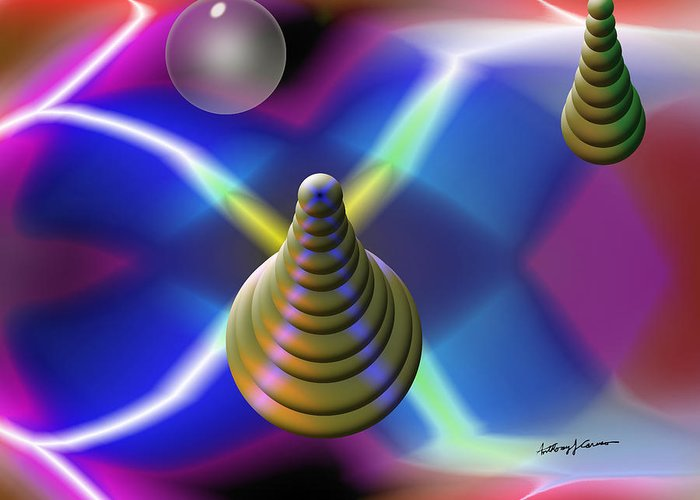 Abstract Greeting Card featuring the digital art Pinball by Anthony Caruso