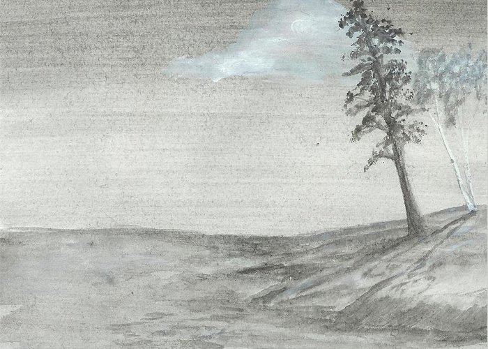 Lake Greeting Card featuring the painting Pine And Birch by Robert Meszaros
