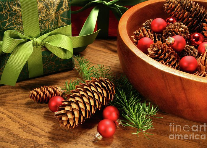 Background Greeting Card featuring the photograph Pine Branches With Gift Tag by Sandra Cunningham