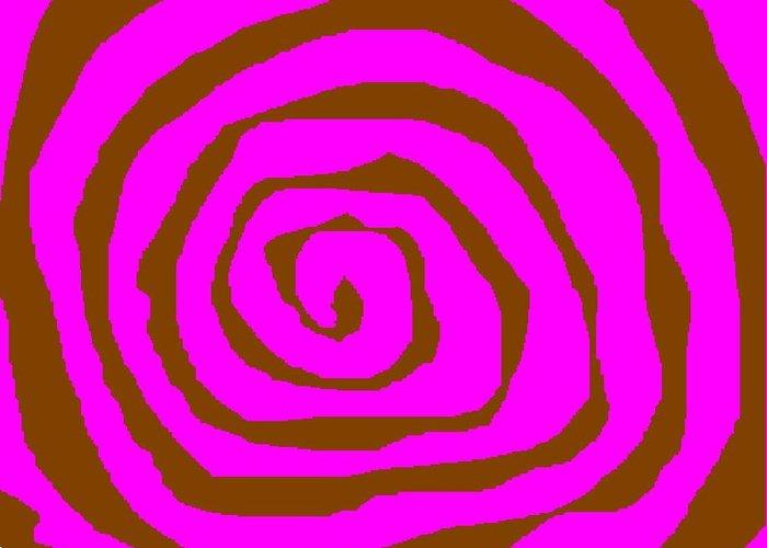 Pink And Brown Swirls Greeting Card featuring the digital art Pink And Brown Swirls by Jeannie Atwater Jordan Allen