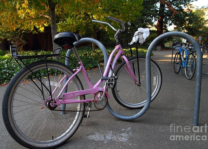 Transportation Greeting Card featuring the photograph Pink Bicycle . 7d10159 by Wingsdomain Art and Photography