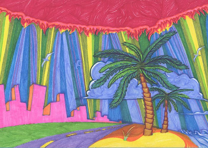 Trees Greeting Card featuring the painting Pink City by James Davidson