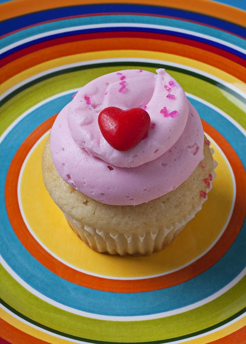 Cupcake Greeting Card featuring the photograph Pink Cupcake With Red Heart by Garry Gay