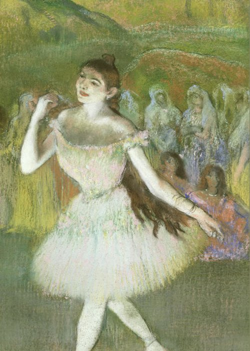 Pink Greeting Card featuring the pastel Pink Dancer by Edgar Degas