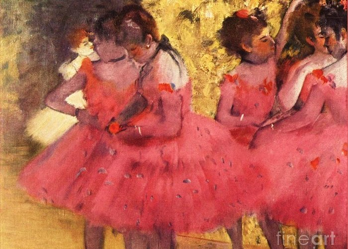 Pd Greeting Card featuring the painting Pink Dancers Before Ballet by Pg Reproductions