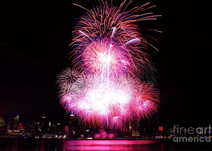Manhattan Greeting Card featuring the photograph Pink Fireworks At Nyc by Archana Doddi