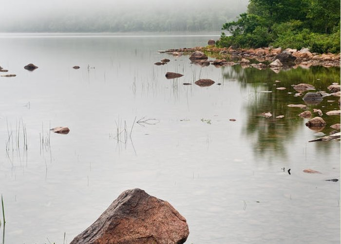 Maine Greeting Card featuring the photograph Pink Granite In Jordan Pond At Acadia by Steve Gadomski