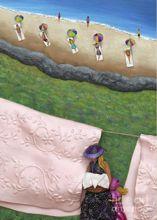 Summer Greeting Card featuring the sculpture Pink Linen- Crop-to See Full Image Click View All by Anne Klar