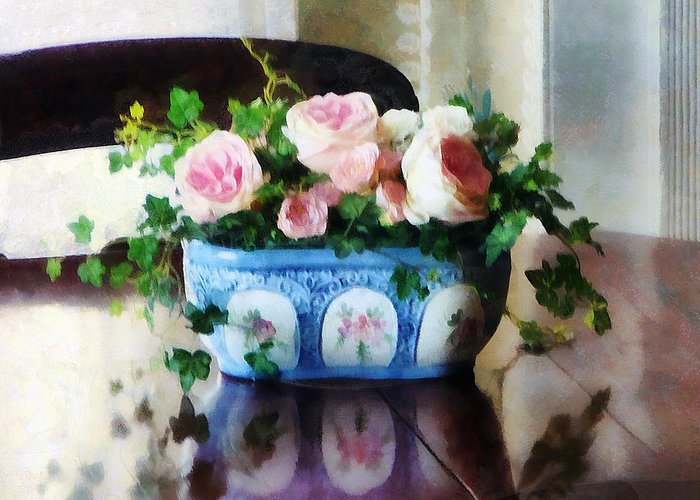 Rose Greeting Card featuring the photograph Pink Roses And Ivy by Susan Savad