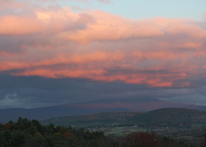 Vermont Greeting Card featuring the photograph Pink Sky Over Vermont by Rod Andress