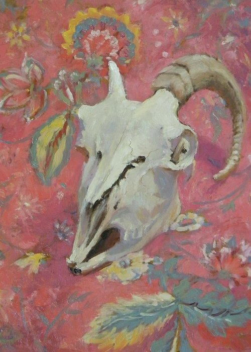 Horn Greeting Card featuring the painting Pinkie by Roger Clark