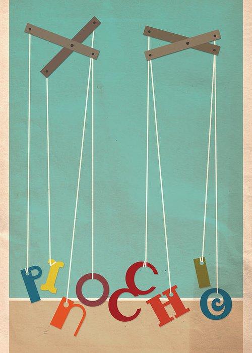Disney Greeting Card featuring the digital art Pinocchio by Megan Romo