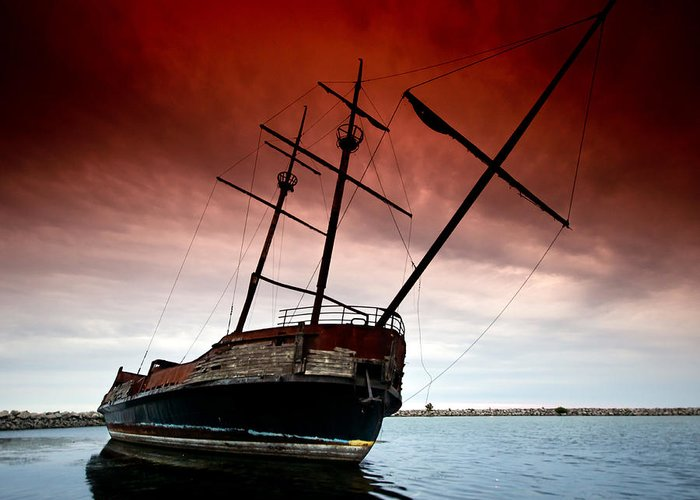 Pirate Greeting Card featuring the photograph Pirate Ship 2 by Cale Best